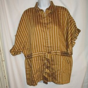 NWT ZARA Gold and White Striped Oversized Blouse S